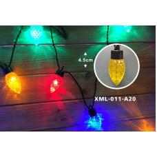 Гирлянда светодиодная ШИШКИ 220В/24В 20LED теплый белый L-3м 5м черный шнур IP44 Hе указан XML-011-A20