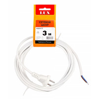Сетевой шнур LUX V2 ПВС 2х0.75 3м с вилкой без з/к белый