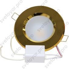 Светодиодный точечный светильник TH-100-5W Теплый белый d100 мм (Золото корпус)-320lm