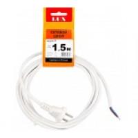 Сетевой шнур LUX V2 ПВС 2х0.75 1.5м с вилкой без з/к белый