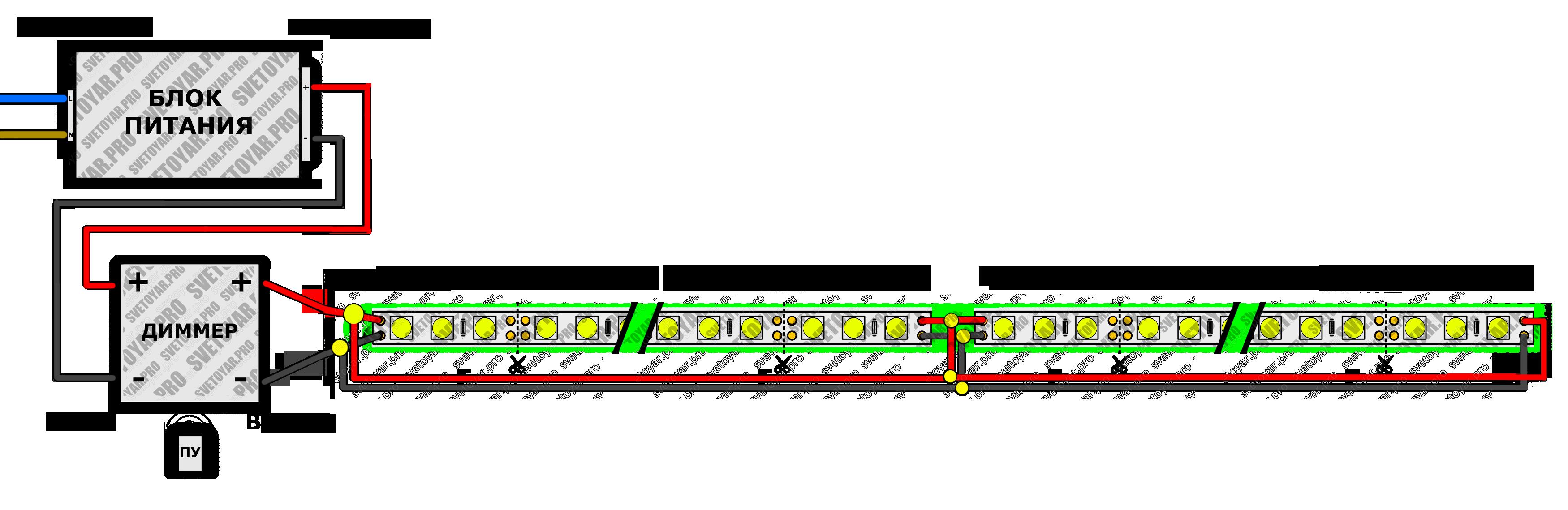 подключение неоновых ламп схема